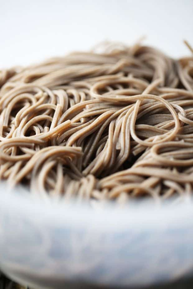 Soba noodles rinsed under cold water