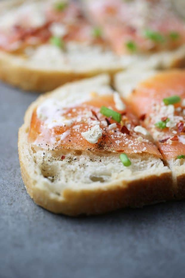 Smoked salmon sandwich red pepper flakes