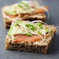 Smoked salmon sandwich avocado bean sprouts