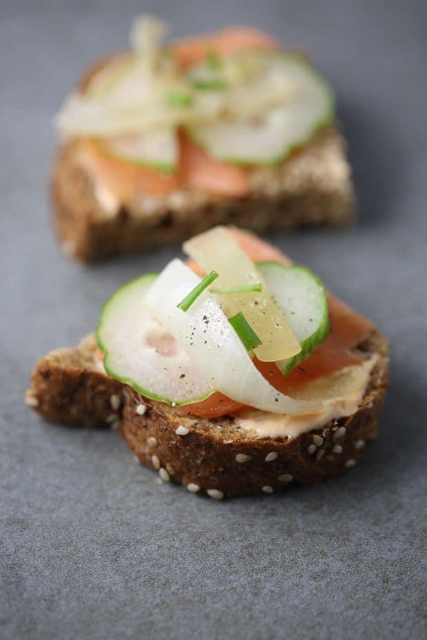 Smoked salmon sandwich cucumber sauteed onion