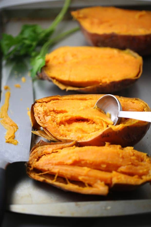 Pineapple walnut baked sweet potato scoop out