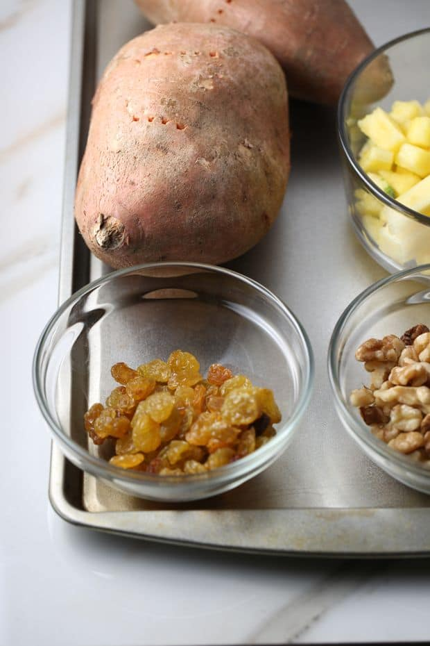 Pineapple walnut baked sweet potato