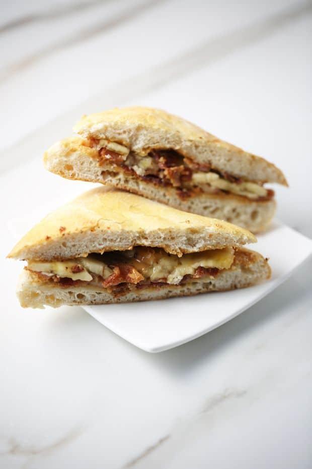 Peanut Butter Banana Bacon Sandwich sliced