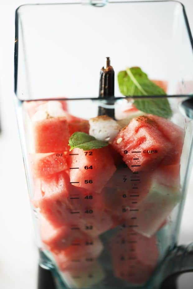 Watermelon cubed in ninja blender