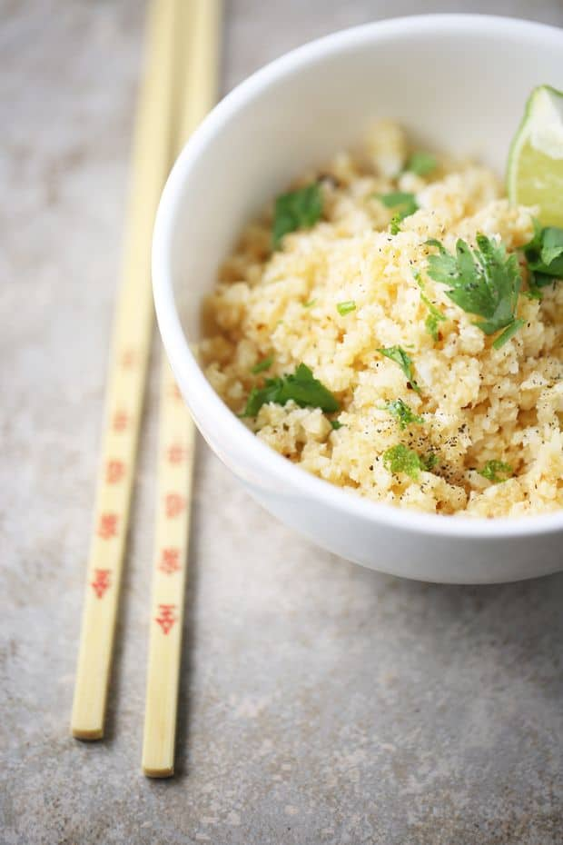 Cilantro lime cauliflower rice ready to be served