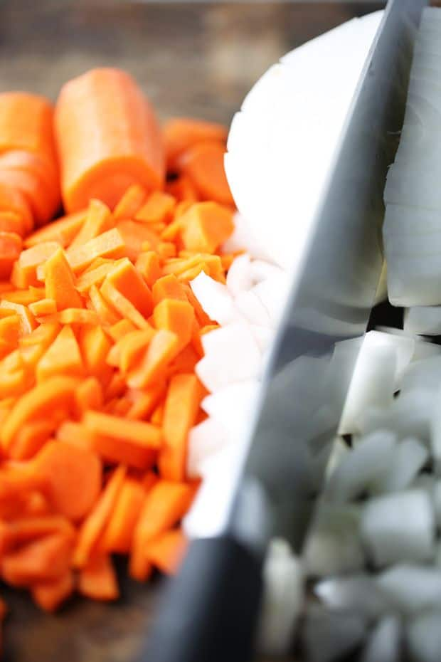 diced onion and cut carrots into strips