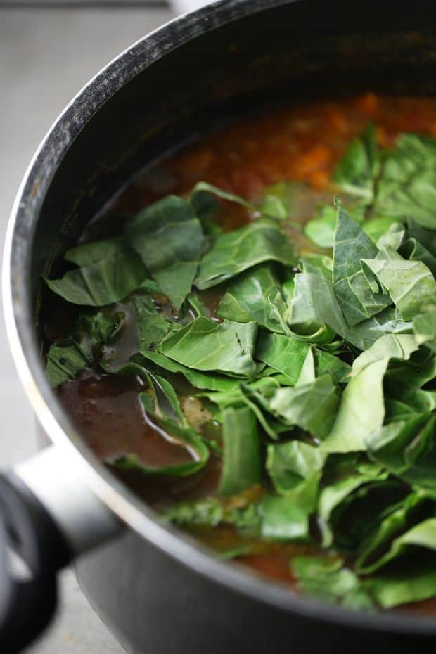 lentil-soup adding collard greens