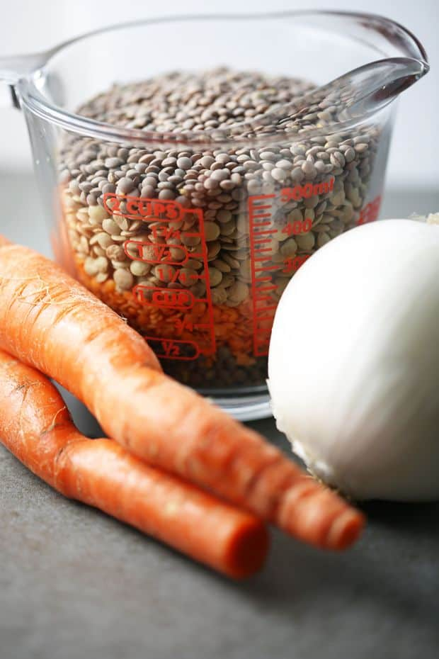 Lentils carrots white onion