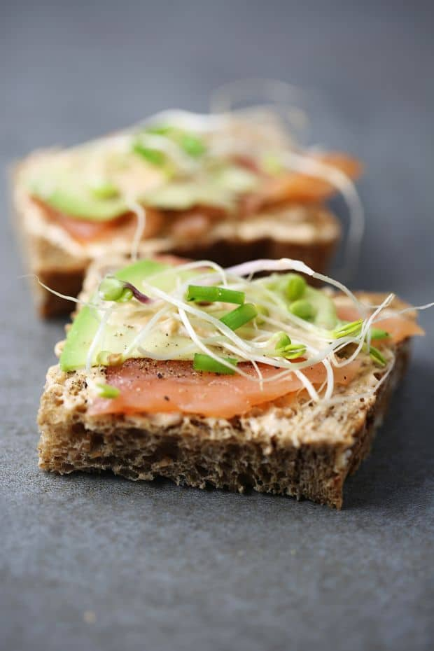 Smoked salmon sandwich avocado bean sprouts