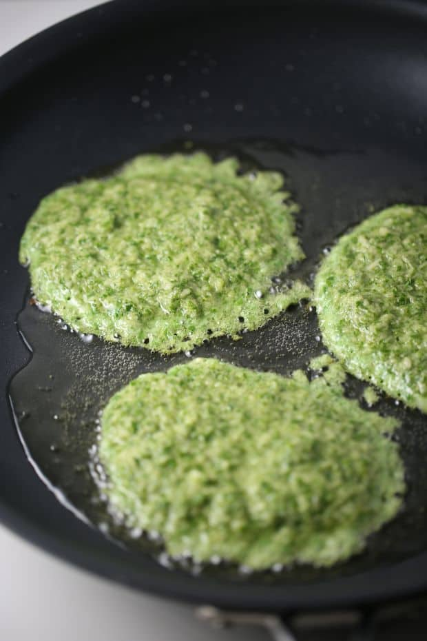 kale potato pancakes frying