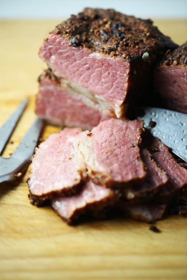 smoked corned beef brisket sliced