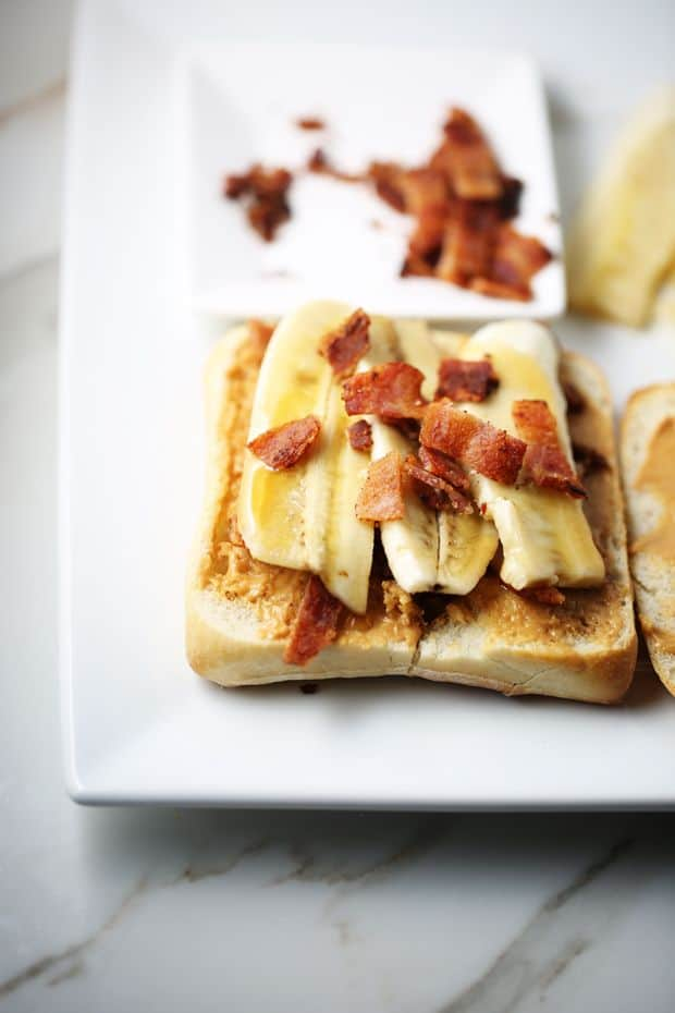 Peanut Butter Banana Bacon Sandwich add banana bacon