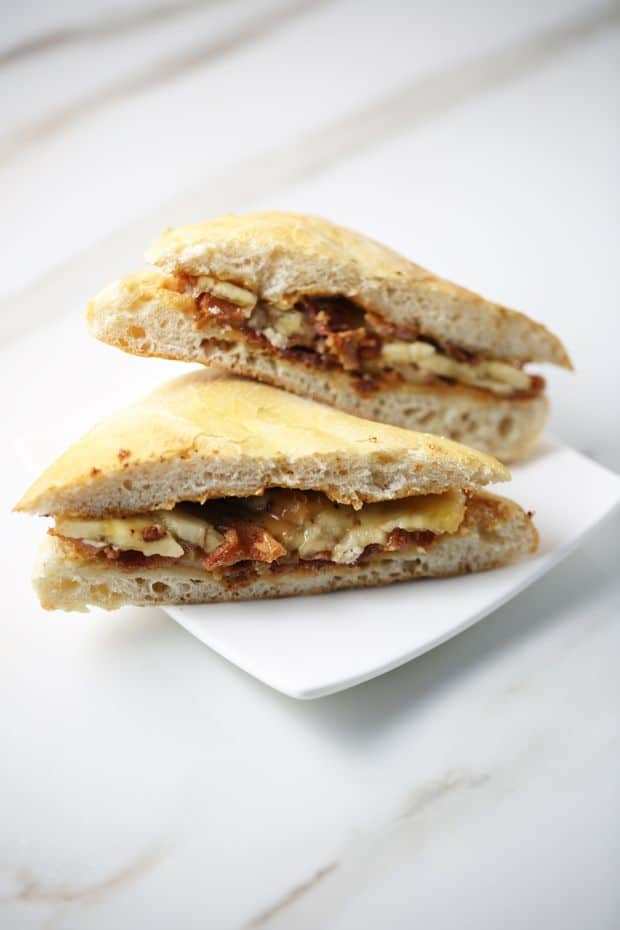 Peanut Butter Banana Bacon Sandwich sliced