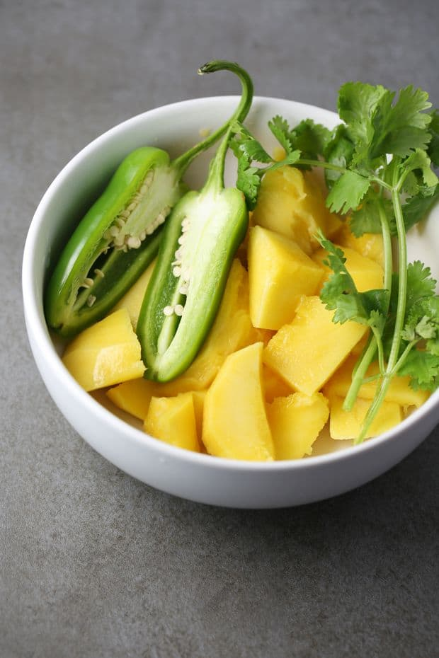 Spicy mango chicken wings mango jalapeno prep