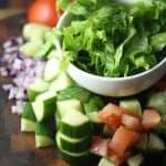 lettuce tomato cucumber salad vegetables diced