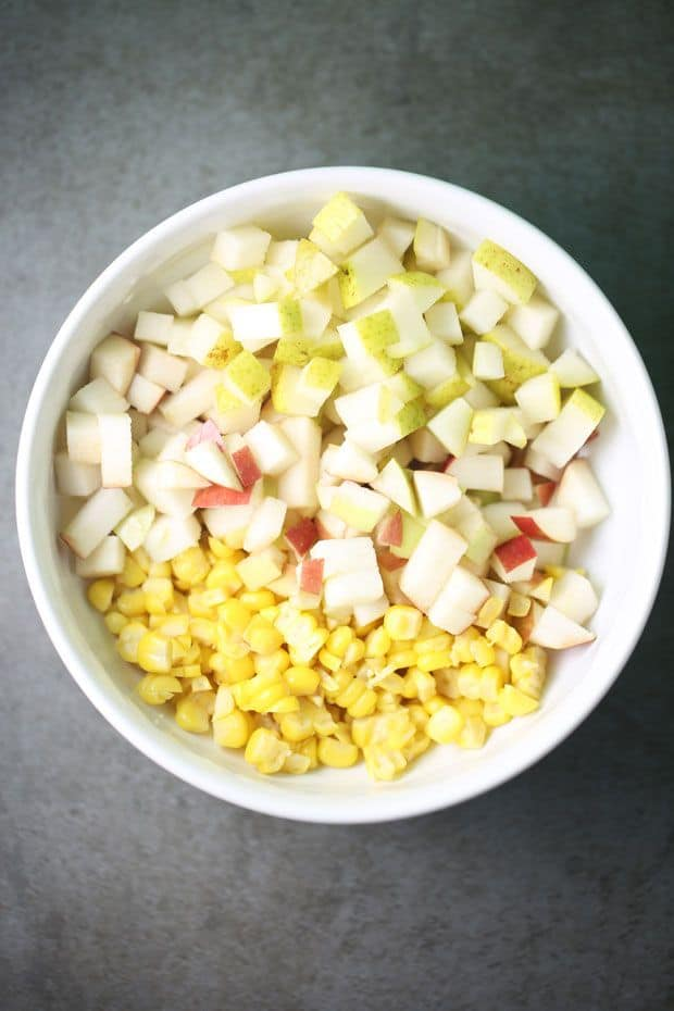 Corn apple salad ingredients diced