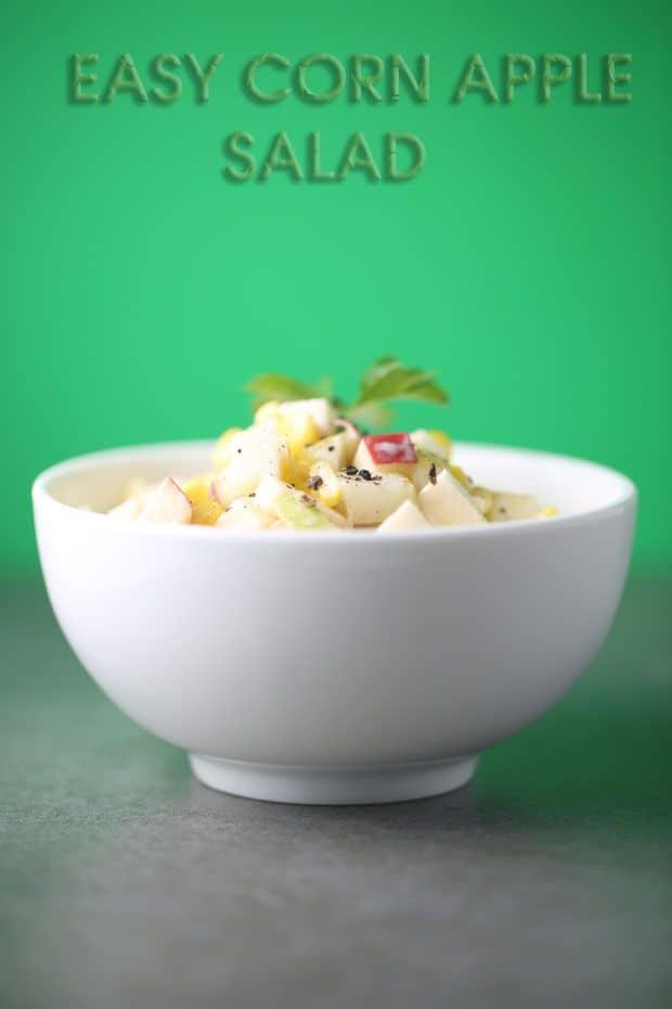 Corn apple salad ready to eat