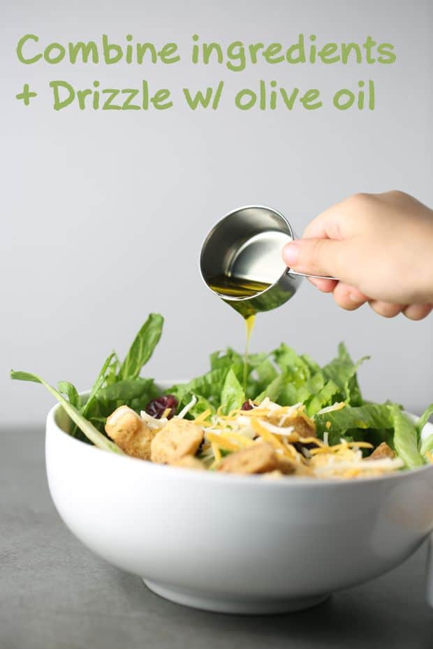 Baby romaine lettuce salad - drizzle with olive oil