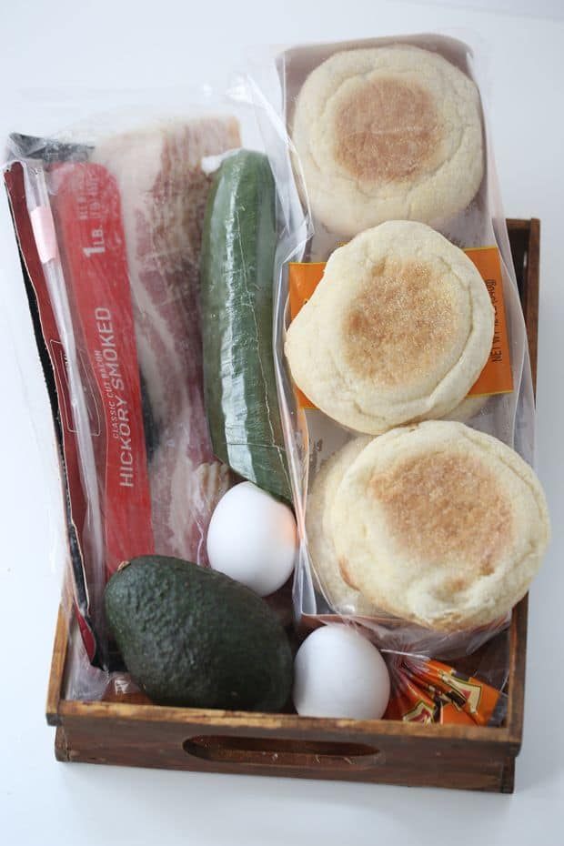 Egg Bacon Pastrami on English Muffin Breakfast sandwich ingredients